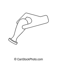 Notary wax seal stamp with hand icon vector line drawing