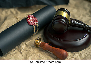 Notary seal , Scales of Justicel, Notarized document...