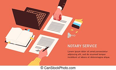 Notary service advertisement. Horizontal web banner template with hands witnessing legal documents by signature and seal or stamp and place for text. Colorful vector illustration in flat style.
