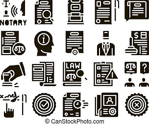 Notary Service Agency Glyph Set Vector
