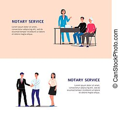 Notary service banner set with cartoon man and woman ...