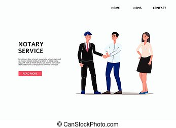 Notary service banner template with cartoon businessman ...