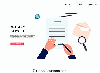 Notary service banner with hands signing documents flat ...