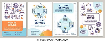 Notary service brochure template. Notarial practice. Legalization. Flyer, booklet, leaflet print, cover design with linear icons. Vector layouts for magazines, annual reports, advertising posters