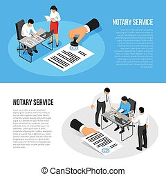 Notary Service Isometric Banners - Notary service isometric...