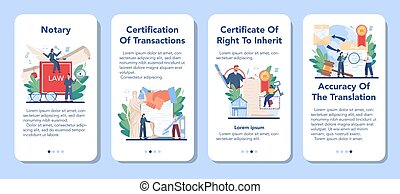 Notary service mobile application banner set. Professional lawyer signing and legalizing paper document. Person witnessing signatures on document. Isolated flat vector illustration