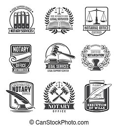 Notary service notarial office vector icons. Civil legal juridical rights, inheritance registration and court regulation. Legal support center, authorized certified notarization, wills execution signs
