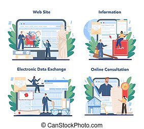 Notary service online service or platform set. Professional lawyer signing and legalizing paper document. Online consultation, electronic data exchange, information, website. Flat vector illustration