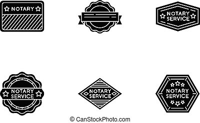 Notary service stamps black glyph icons set on white space. ...
