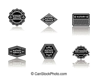 Notary service stamps drop shadow black glyph icons set. ...