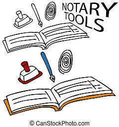 Notary Service Tools - An image of a notary book, stamp, pen...