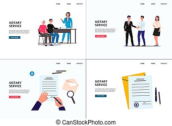 Notary services and legal assistance banners flat vector ...