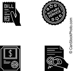 Notary services black glyph icons set on white space. ...