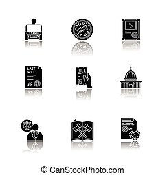 Notary services drop shadow black glyph icons set. Apostille...