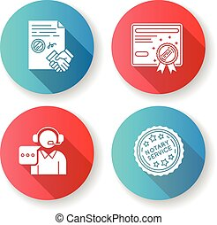 Notary services flat design long shadow glyph icons set. ...