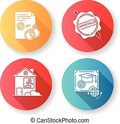 Notary services flat design long shadow glyph icons set. Apostille and legalization. Divorce. Diploma. Real estate litigation. Wax seal. Notarized document. Silhouette RGB color illustration