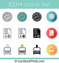 Notary services icons set. Apostille and document legalization. Last will, testament. Stamp. Notarization. Legal paper. Linear, black and RGB color styles. Isolated vector illustrations