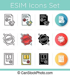 Notary services icons set. Apostille and legalization. Contract, legal agreement. Stock certificate. Wax seal. Notarized document. Linear, black and RGB color styles. Isolated vector illustrations