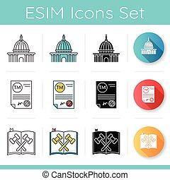 Notary services icons set. Apostille and legalization. Notarized document. Trademark certificate. Legal code, statute. Supreme court. Linear, black and RGB color styles. Isolated vector illustrations