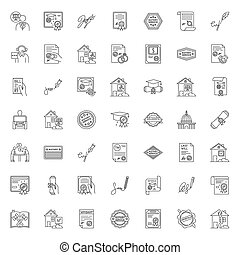 Notary services pixel perfect linear icons set. Apostille ...