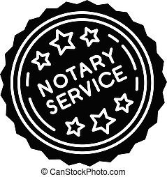 Notary services stamp mark black glyph icon. Apostille and ...