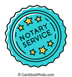 Notary services stamp mark RGB color icon. Apostille and ...