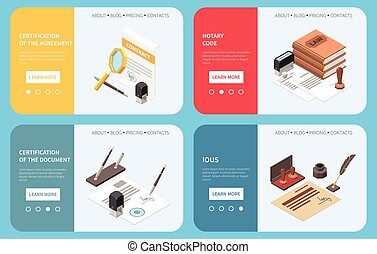 Notary services web banners with clickable links buttons and offering of document and agreement certification isometric vector illustration