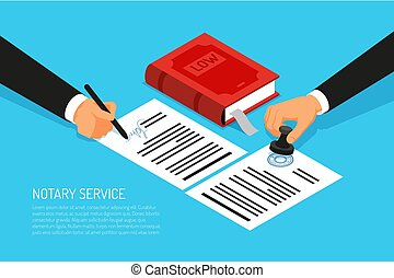 Notary Sevice Isometric Illustration - Notary service ...