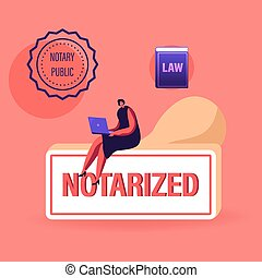 Notary Worker Character Sitting on Huge Rubber Stamper Working on Laptop with Seal Stamp and Law Book Symbols around. Documents Authorization, Lawyer or Attorney Service. Cartoon Vector Illustration