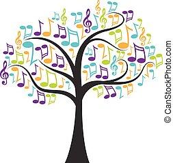 notas, árvore, musical