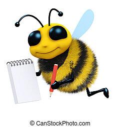 notas, 3d, toma, abeja