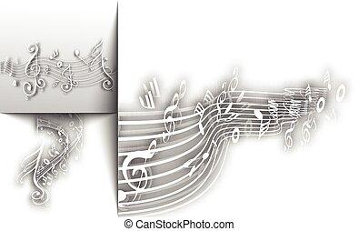 notas, abstratos, fundo, musical