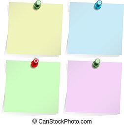 notas adhesivas, blanco, aislado