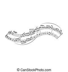 notas, aduela, elemento, desenho, forma, branca, onda, musical