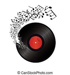 notas, afuera, música, vinilo, venida