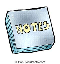 notas, almohadilla, cómico, caricatura