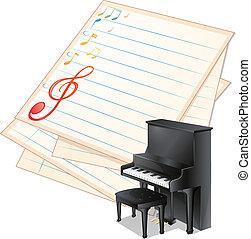 notas, ao lado, papel, piano, musical, vazio