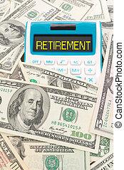 notas, aposentadoria, palavra, americano, calulator