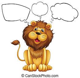 notas, bolha, leão, vazio