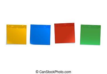 notas, branca, isolado, coloridos, pegajoso