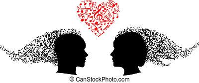 notas, cabeças, musical, pessoas