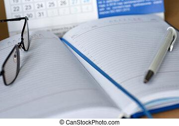 notas, caderno, calendário, desktop