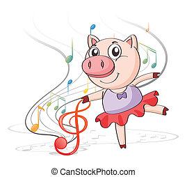notas, cerdo, musical, bailando