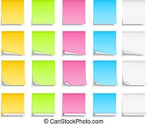 notas, colorido, correspondência-isto