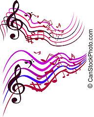 notas., coloridos, abstratos, ilustração, vetorial, música