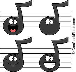 notas, conjunto, música, caricatura