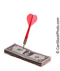 notas, dólar, flecha
