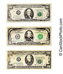 notas, de, a, dólares americanos, valor nominal, 20, 100, e, 1000