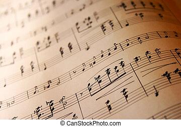 notas, de, música