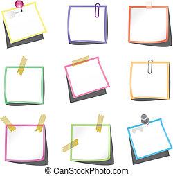 notas de papel, con, empujar el perno, y, paperclip
